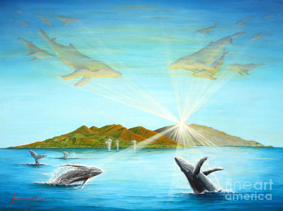 Whales Painting - The Whales Of Maui by Jerome Stumphauzer