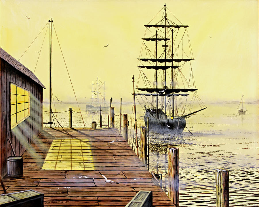 Water Painting - The Wharf by Don Griffiths