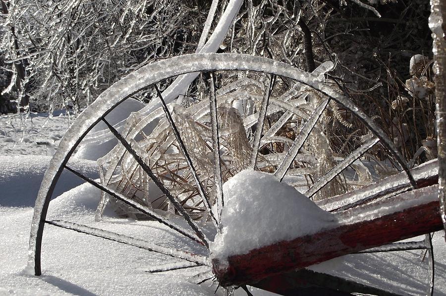 Ice Photograph - The Wheel by David and Lynn Keller