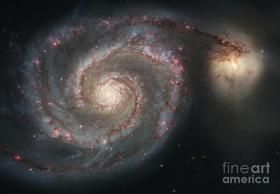 Color Image Photograph - The Whirlpool Galaxy M51 And Companion by Stocktrek Images