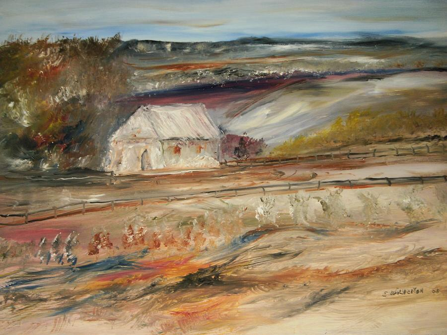 Landscape Painting - The White Barn by Edward Wolverton
