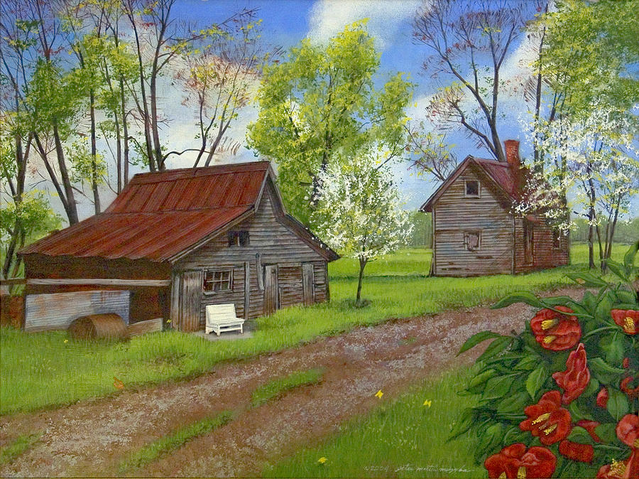 Landscape Painting - The White Bench by Peter Muzyka