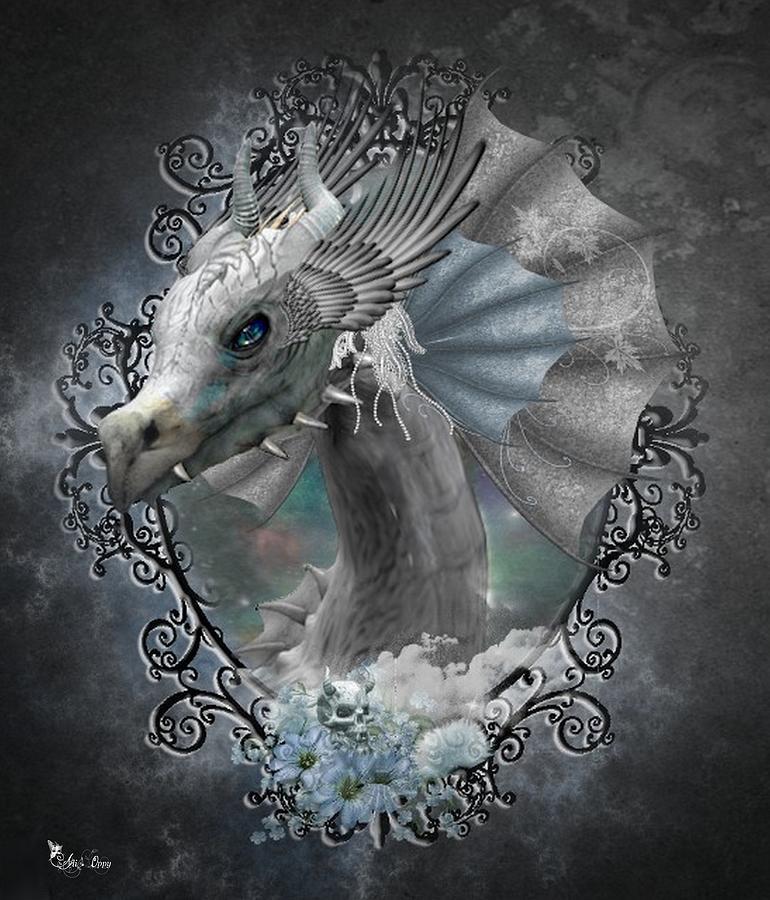 Fantasy Digital Art - The White Dragon by Ali Oppy