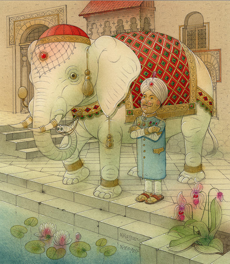 White Elephant Animals King India Water Good Luck Succes Lotus Fortune Happiness Painting - The White Elephant 05 by Kestutis Kasparavicius