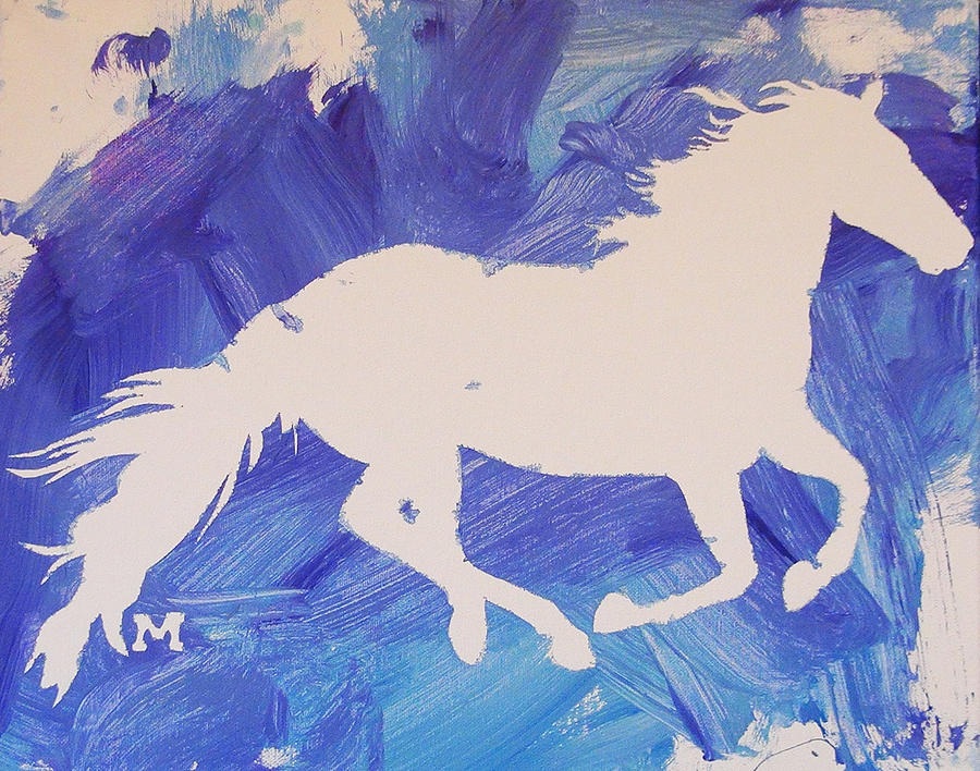 Horse Painting - The White Horse by Candace Shrope