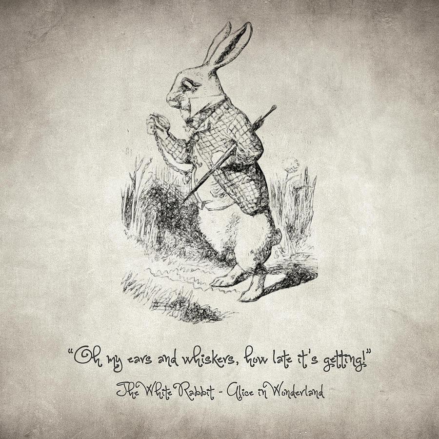 Alice In Wonderland Drawing  The White Rabbit Quote By Taylan Apukovska