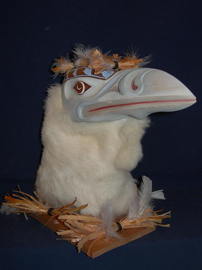 Raven Sculpture - The  White Raven  by Shane  Tweten