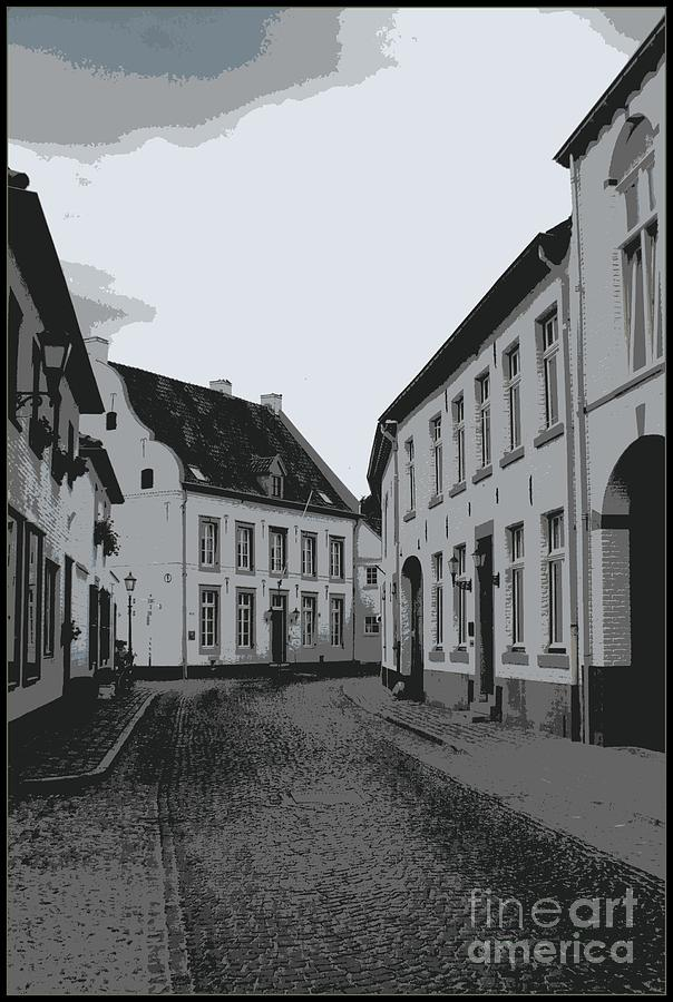 Gray And White Photograph - The White Village - Digital by Carol Groenen