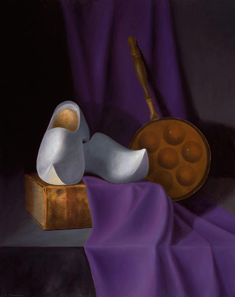 Still Life Painting - The White Wooden Shoes by Christa Eppinghaus