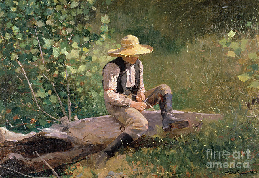Kid Painting - The Whittling Boy by Winslow Homer