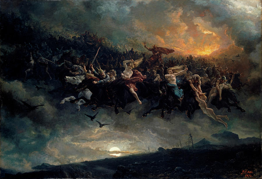 Norse Gods Painting - The wild Hunt of Odin by Peter Nicolai Arbo