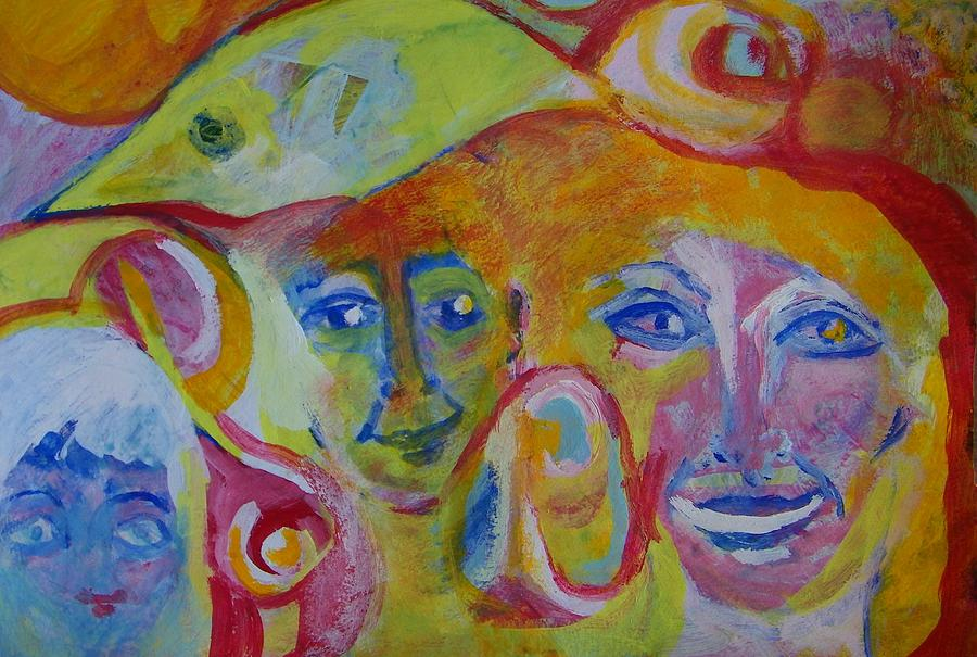 Abstract Painting - The Wilson Family Loves Their Canary by Judith Redman