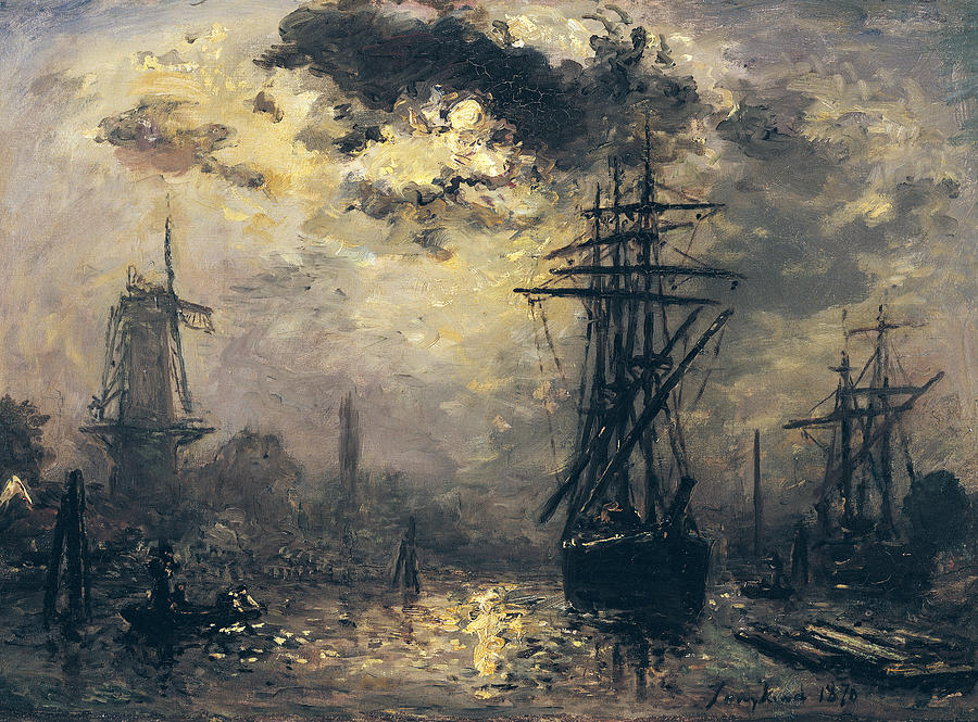 View Of The Port Painting - The Windmills In Rotterdam by Johan Barthold Jongkind