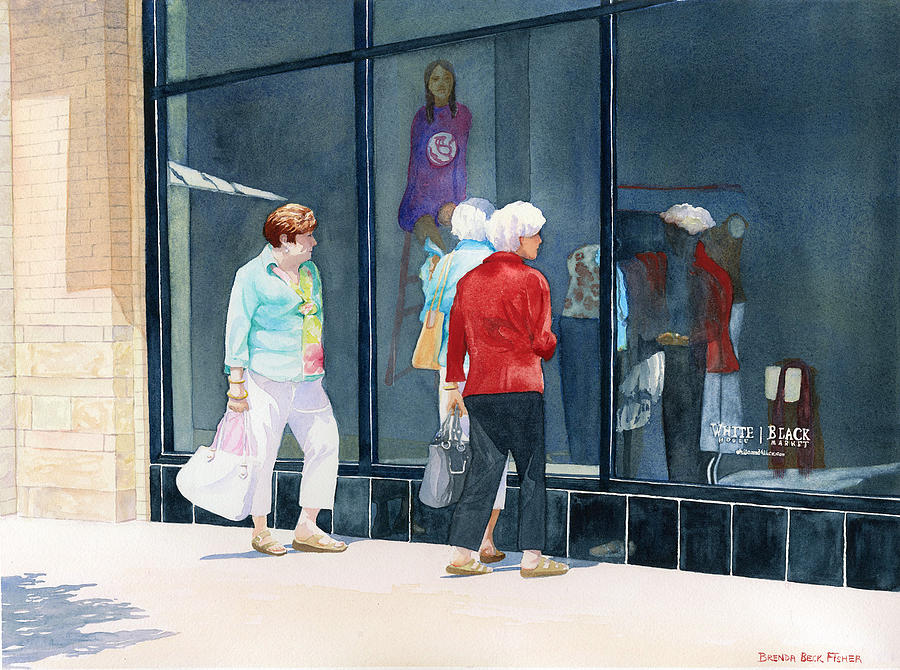 Shopping Painting - The Window Shoppers by Brenda Beck Fisher