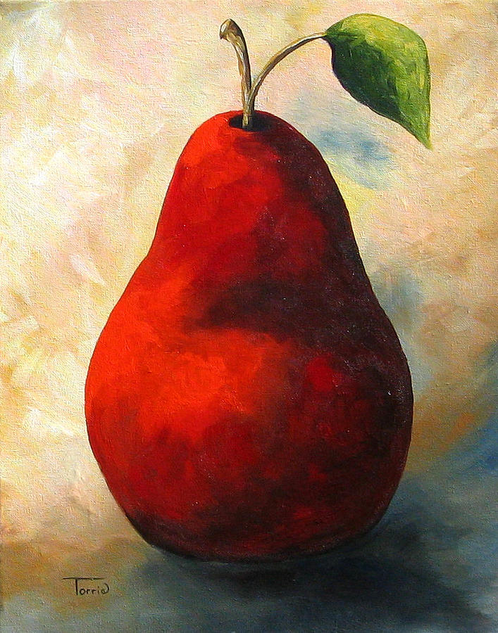 Pear Painting - The Wine Red Pear  by Torrie Smiley