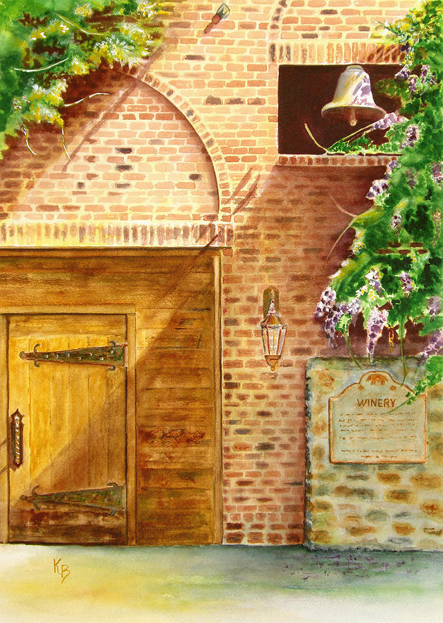 Winery Painting - The Winery by Karen Fleschler