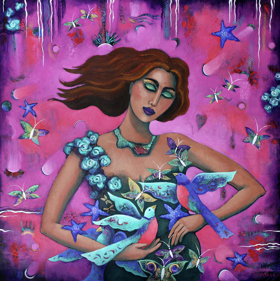 Woman Painting - The Winged by Carla Golembe
