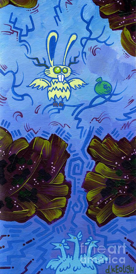 Winged Jackalope Painting - The Winged Jackalope Gots Da Loot. Doz Chickens Want Some But They Aint Getin None Of It by Dan Keough