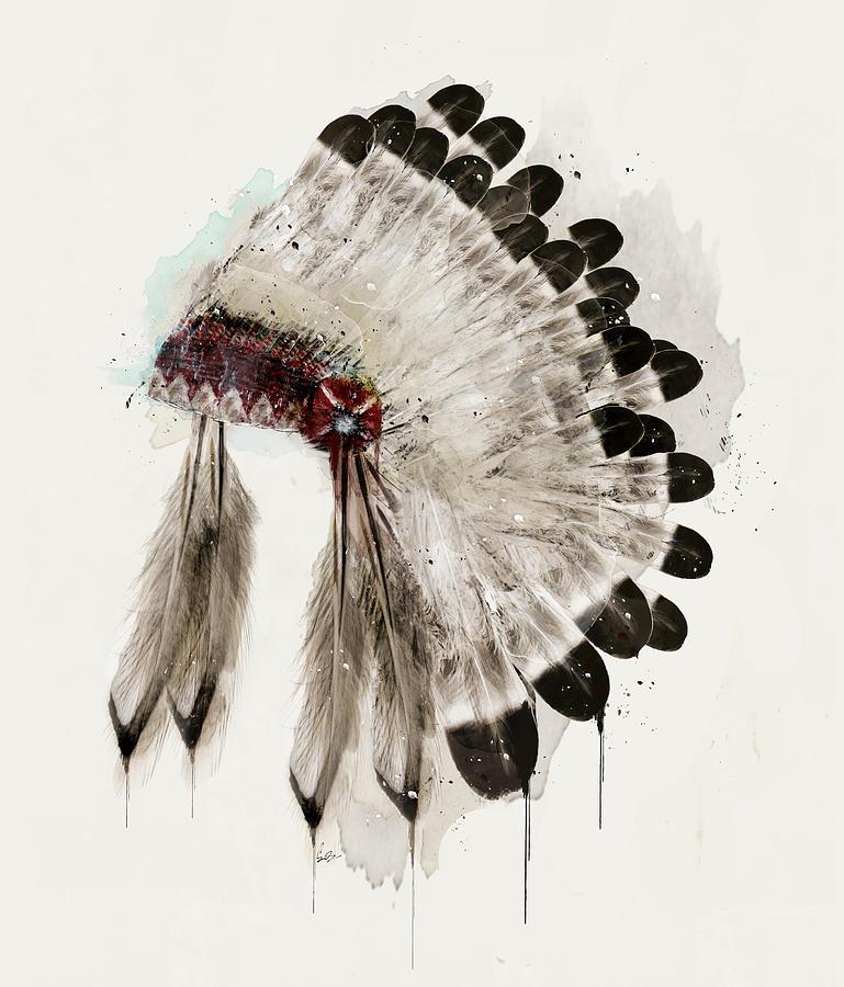 Native Headdress Painting - The Winter Headdress by Bri Buckley