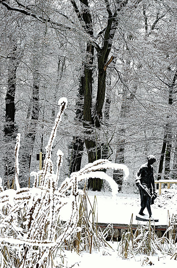 The Winter Landscape With The Statue Of The Girl With The Jug #1. Photograph