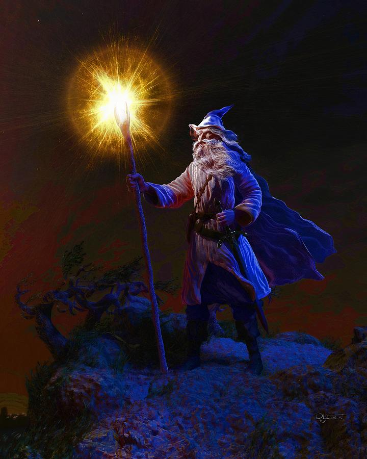 the wise old wizard digital art by dave luebbert