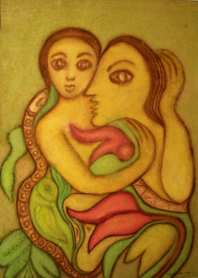 Painting Painting - The Wise Serpent by Nabakishore Chanda