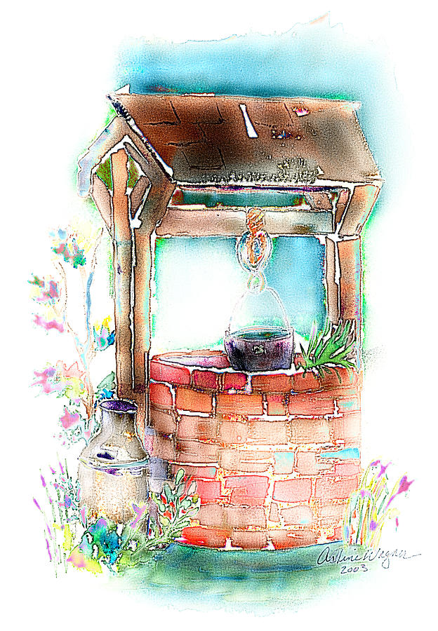 The Wishing Well Mixed Media by Arline Wagner