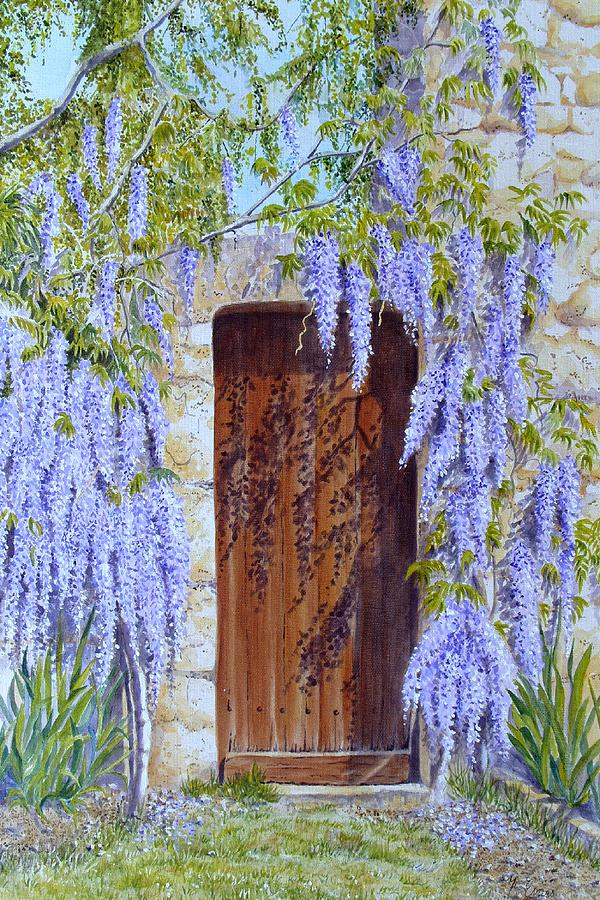 Wisteria Painting - The Wisteria Gate by Frances Evans