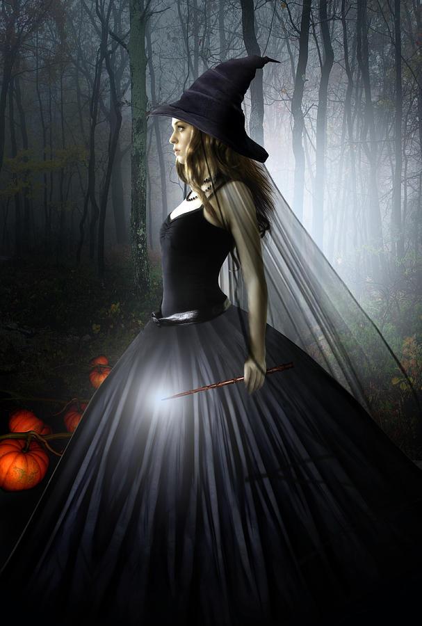 Witch Digital Art - The Witching Hour by Julie L Hoddinott