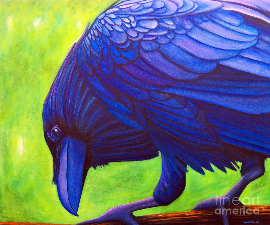 Raven Painting - The Witness by Brian  Commerford