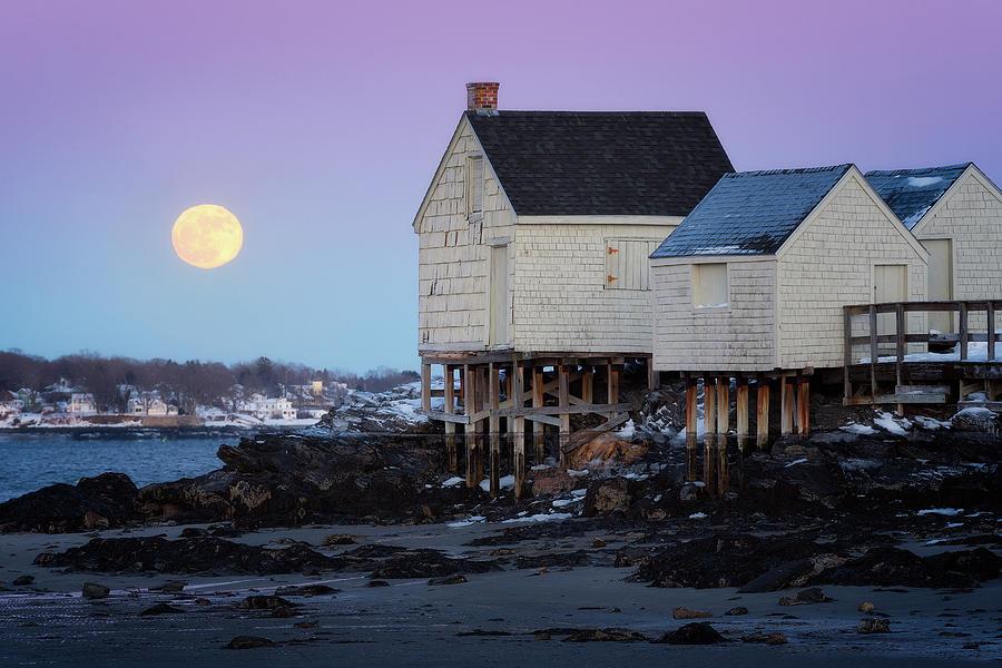 The Wolf Moon Over Willard Beach Photograph by Jeff Bazinet