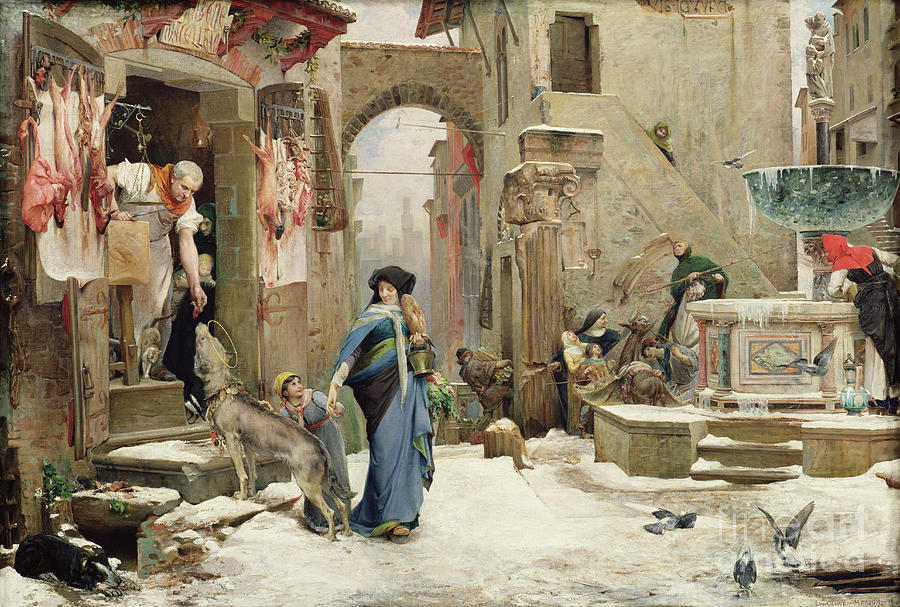 The Painting - The Wolf of Gubbio by Luc Oliver Merson