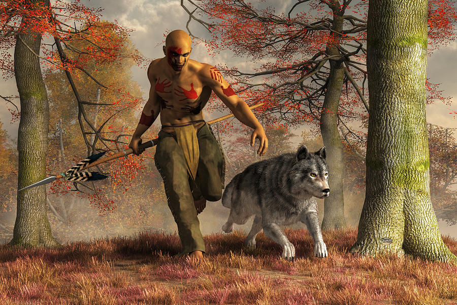 Hunt Digital Art - The Wolf Teaching Man To Hunt by Daniel Eskridge