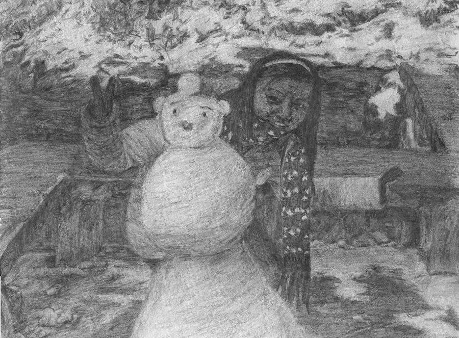 Woman Drawing - The Woman Behind The Snowman by Sami Tiainen