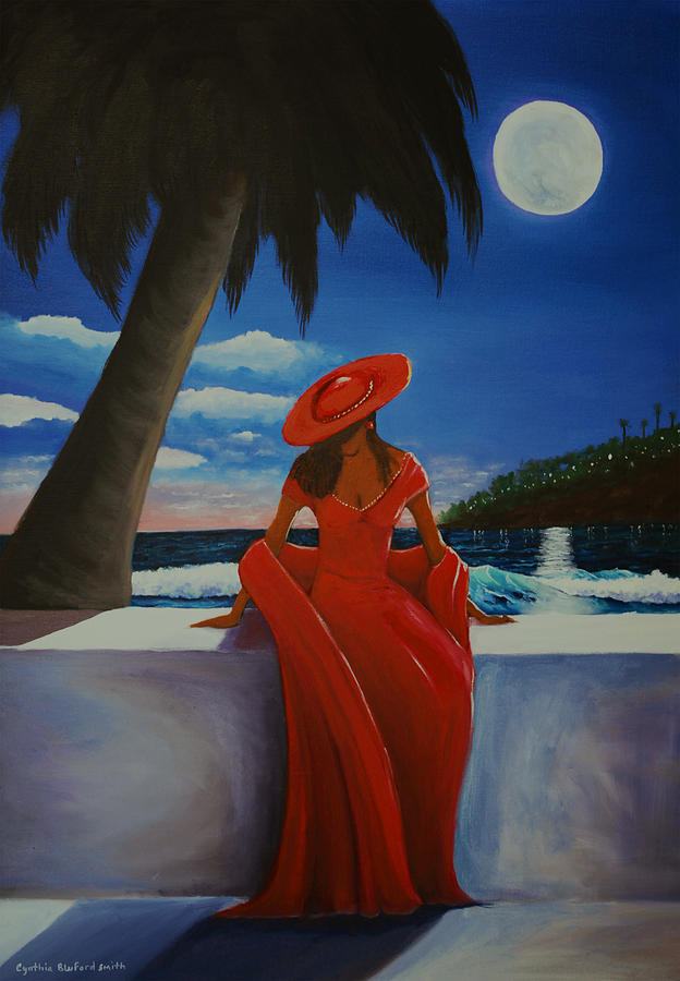 The Woman In Red Painting by Cynthia Bluford