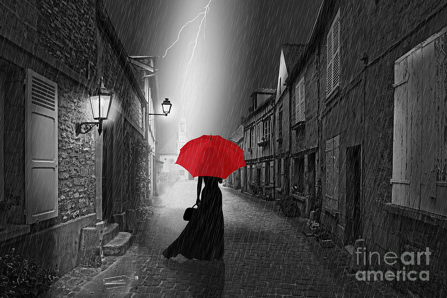 Alone Digital Art - The woman with the red umbrella by Monika Juengling