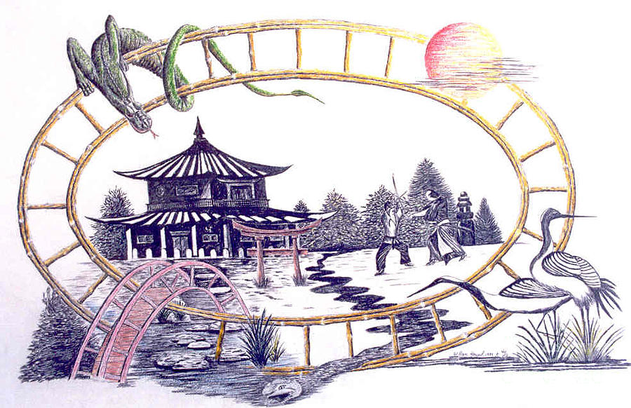 Martial Arts Drawing - The Wong Restaurant  by Dan Hausel