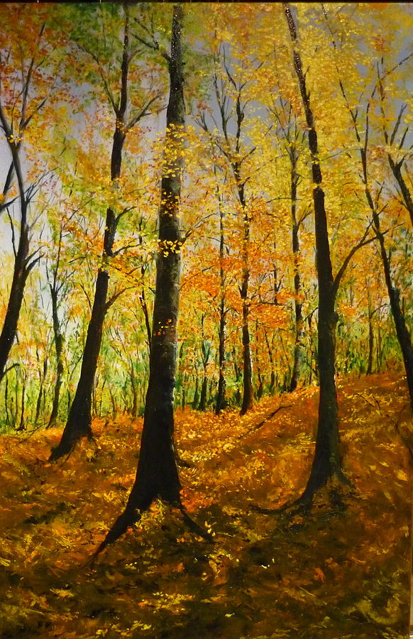 Fall Painting - The Wood For The Trees by Lizzy Forrester