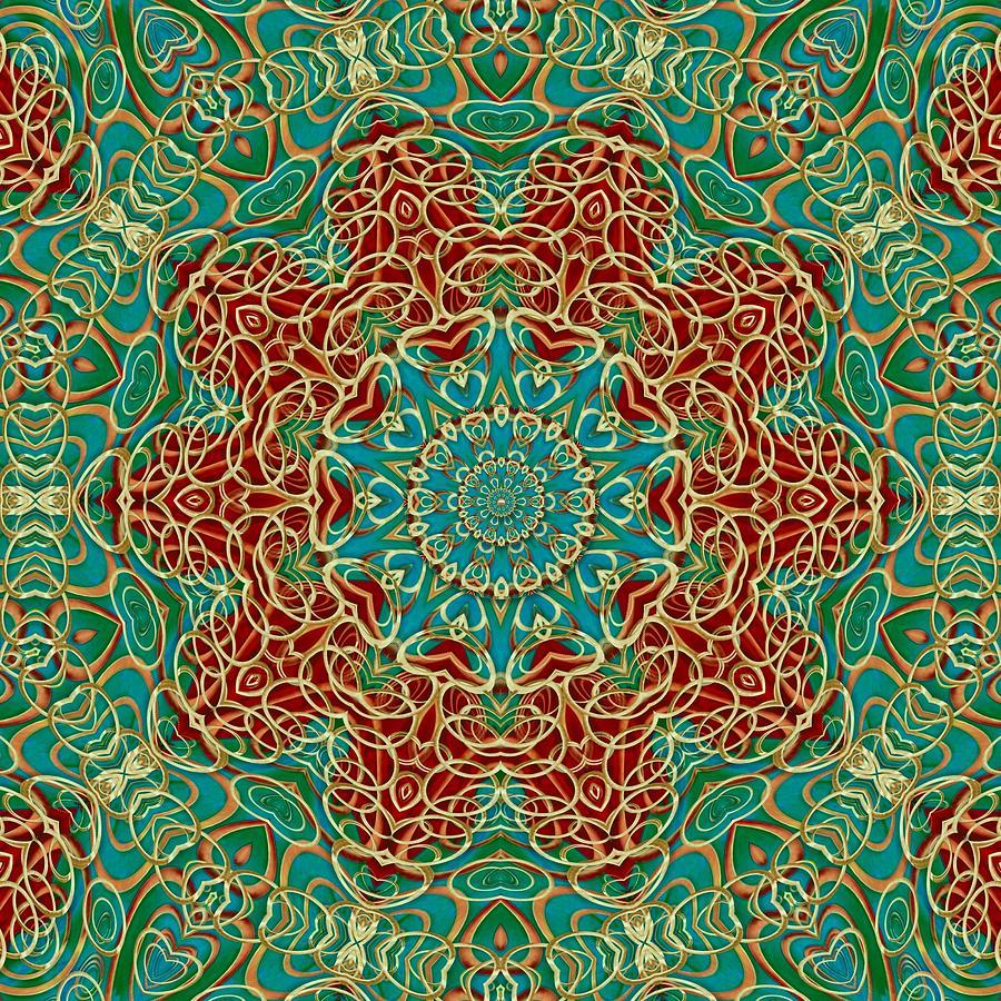 The Wooden Heart Mandala,giving Calm Mixed Media
