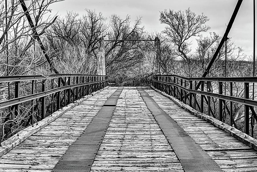 Old Wood Bridge Photograph - The Woodson Suspension Bridge by JC Findley