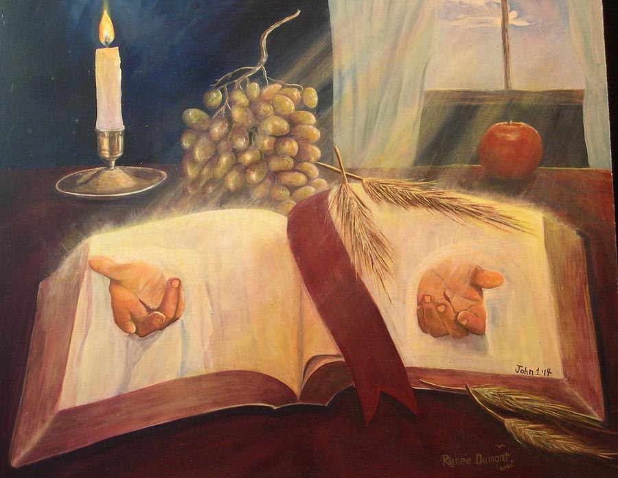 Contemporary Painting - The Word Made Flesh by Renee Dumont  Museum Quality Oil Paintings  Dumont
