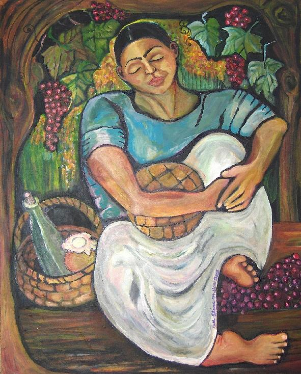 Grapes Painting - The Worker...women Of The Earth by Ruth Olivar Millan