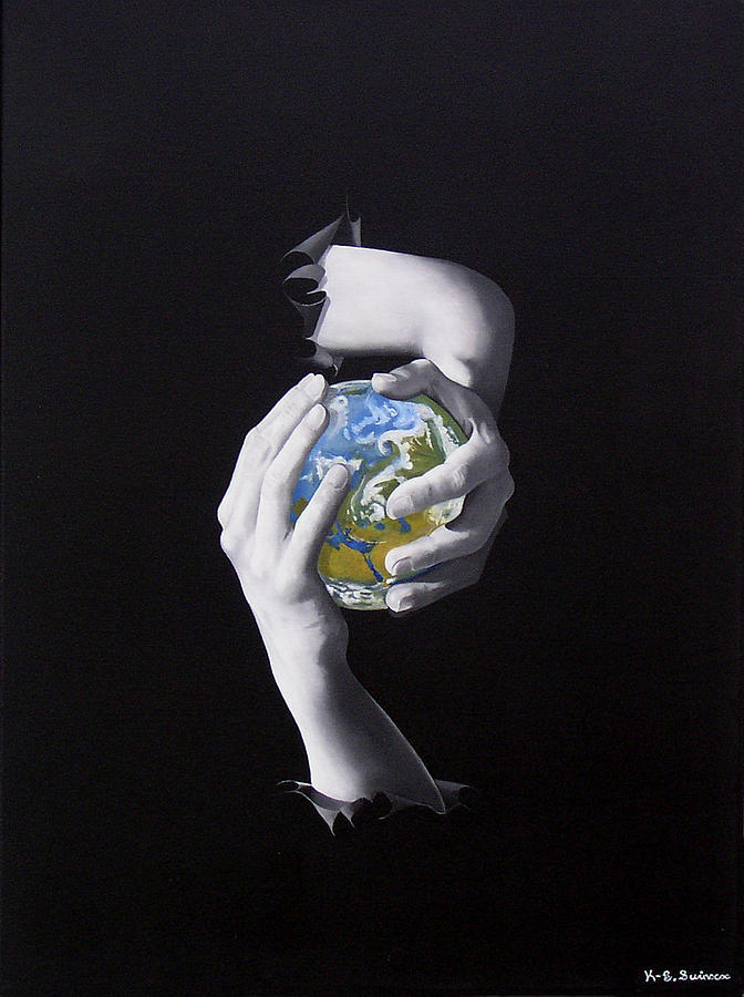 Earth Painting - The World In Your Hands Or Conflict by Kenneth-Edward Swinscoe
