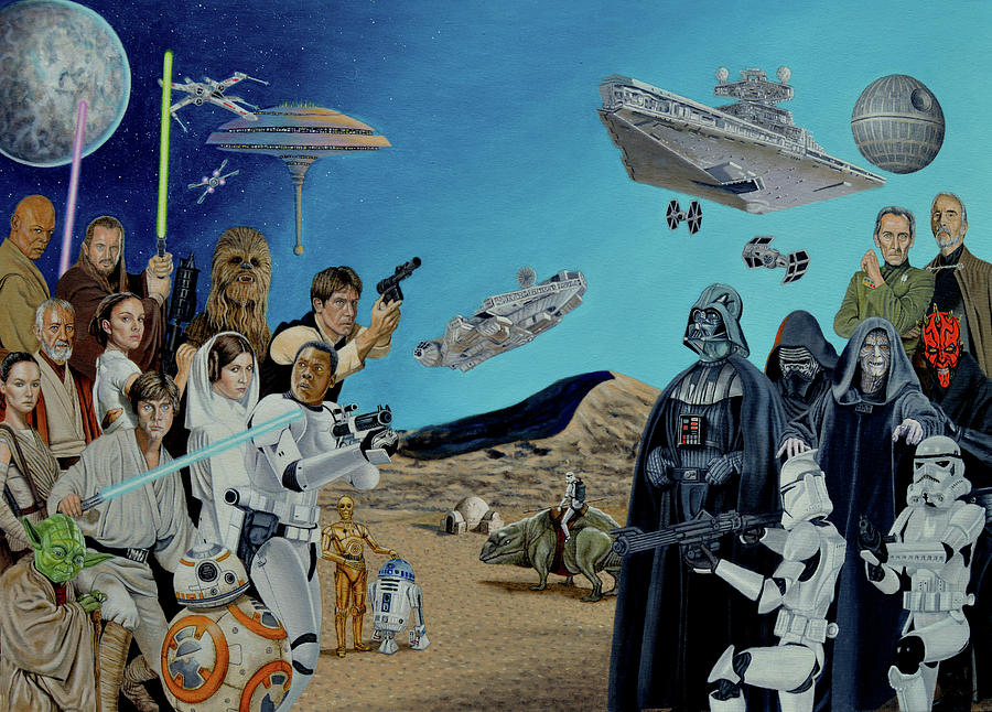 The Phantom Menace Painting - The World Of Star Wars by Tony Banos