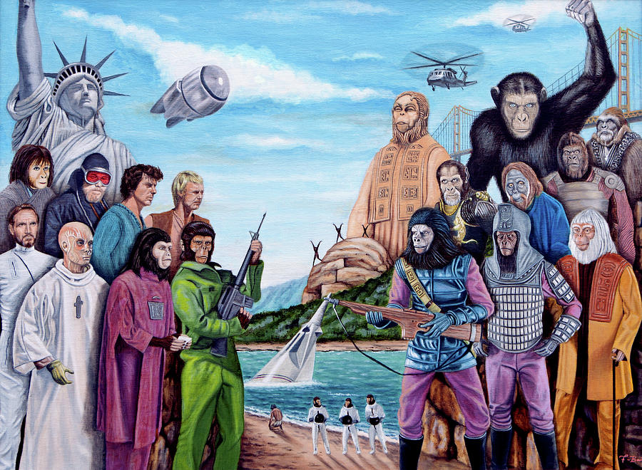 Planet Of The Apes Painting - The World Of The Planet Of The Apes by Tony Banos