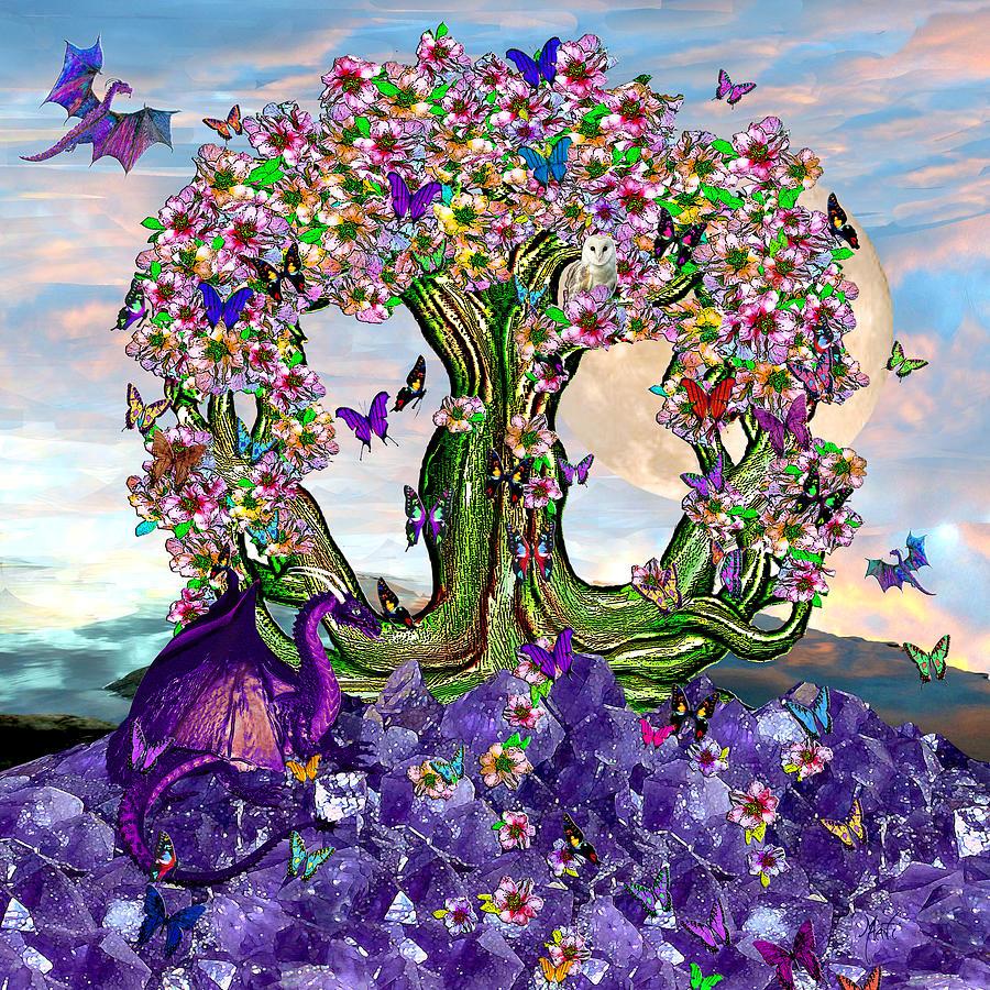 The World Tree Spring Equinox Dragons Mixed Media