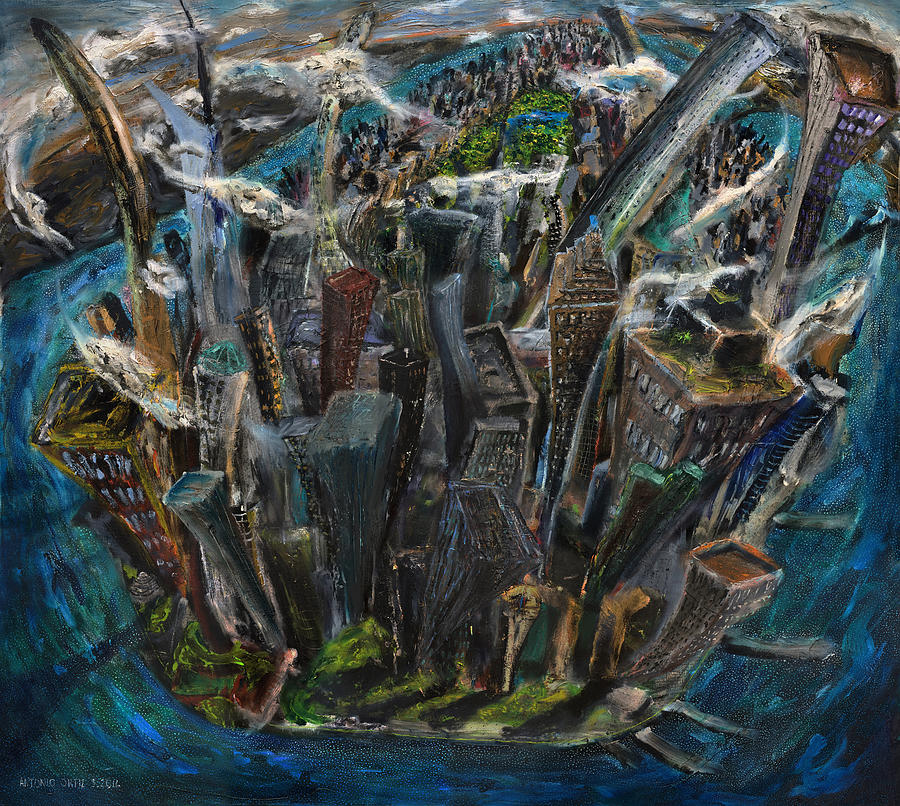 New York City Painting - The Worlds Capital by Antonio Ortiz