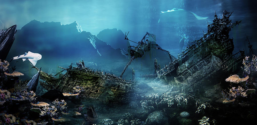 Landscape Digital Art - The Wreck by Mary Hood