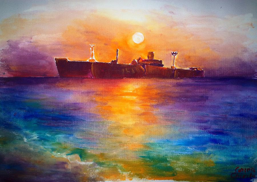 Seascape Painting - The wreckship in Costinesti by Chirila Corina
