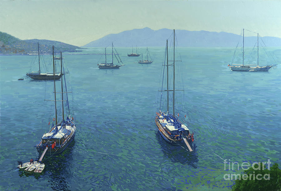 Yachts Painting - The Yachts by Simon Kozhin